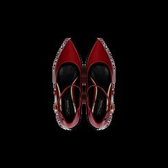 Décolleté rosse kitten heels in vernice, tacco 3 cm, Scarpe, 124951721VEROSS, 004 preview