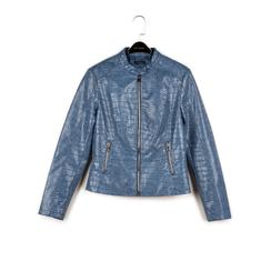 Biker jacket azzurra in eco-pelle cocco print, NUOVI ARRIVI, 156509104CCAZZUL, 003 preview