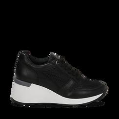 Sneakers nere in eco-pelle con zeppa, Scarpe, 132008360EPNERO036, 001a