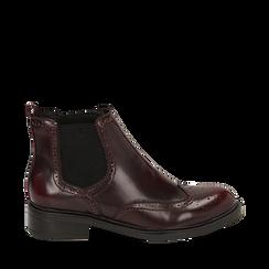 Chelsea boots bordeaux in eco-pelle abrasivata, Stivaletti, 140618206ABBORD035, 001a