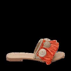 Ciabatte arancio in rafia con conchiglie, Scarpe, 15K904426RFARAN036, 001a