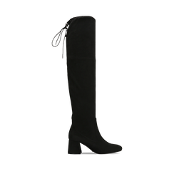 Stivali overknee neri in microfibra, tacco 9,50 cm , Primadonna, 164982302MFNERO037, 001a