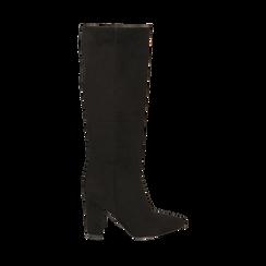 Stivali neri in microfibra, tacco 9,50 cm , Primadonna, 163026501MFNERO038, 001a