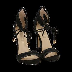 Sandali neri in microfibra, tacco 11 cm , Primadonna, 152122111MFNERO035, 002a