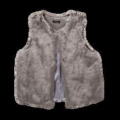 Smanicato eco-fur grigio, Saldi, 12B400302FUGRIGM, 001a
