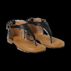 Sandali infradito neri in eco-pelle,