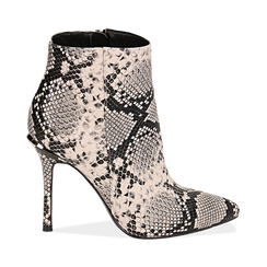 Ankle boots beige/neri effetto snake, tacco 11 cm , Stivaletti, 142182015PTBENE040, 001 preview