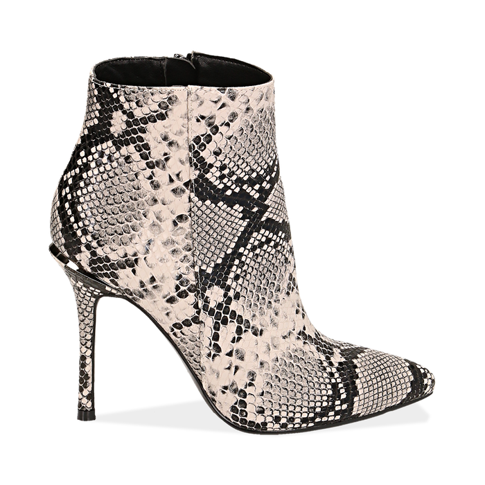 Ankle boots beige/neri effetto snake, tacco 11 cm , Stivaletti, 142182015PTBENE040