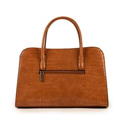 Bolsa de mano en eco-piel con estampado de cocodrilo color cuero, Bolsos, 155702495CCCUOIUNI, 003 preview