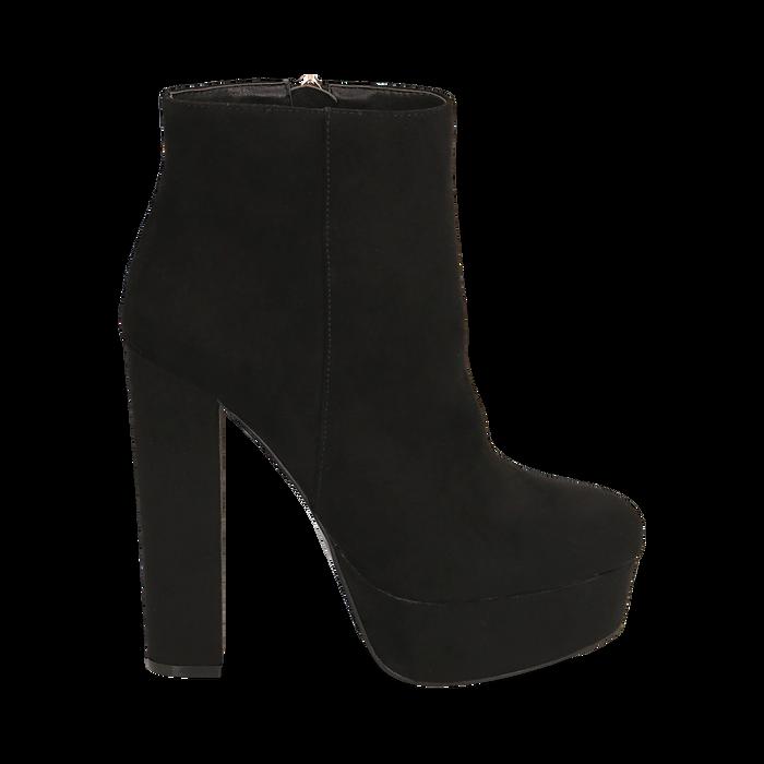 Ankle boots con plateau neri in microfibra, tacco 13,5 cm , Stivaletti, 142138410MFNERO035