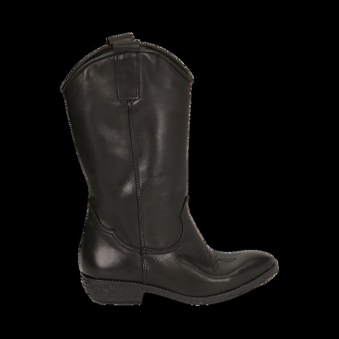 Camperos neri in pelle, tacco 4 cm , Primadonna, 168900060PENERO036