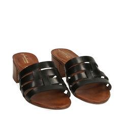 Sandali neri in pelle di vacchetta, tacco 4,5 cm , Primadonna, 177248215VANERO036, 002a