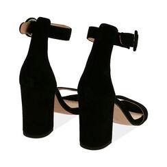Sandali neri in camoscio, tacco 8,5 cm, Primadonna, 15D600501CMNERO041, 004 preview
