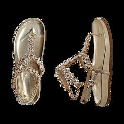 Sandali infradito gioiello oro in eco-pelle laminata, Primadonna, 154951992LMOROG036, 003 preview