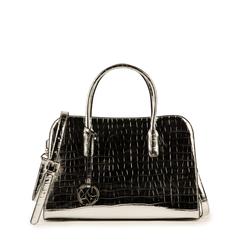 Bolsa de mano en eco-piel con estampado de cocodrilo color plateado, Primadonna, 155702495CCARGEUNI, 001a