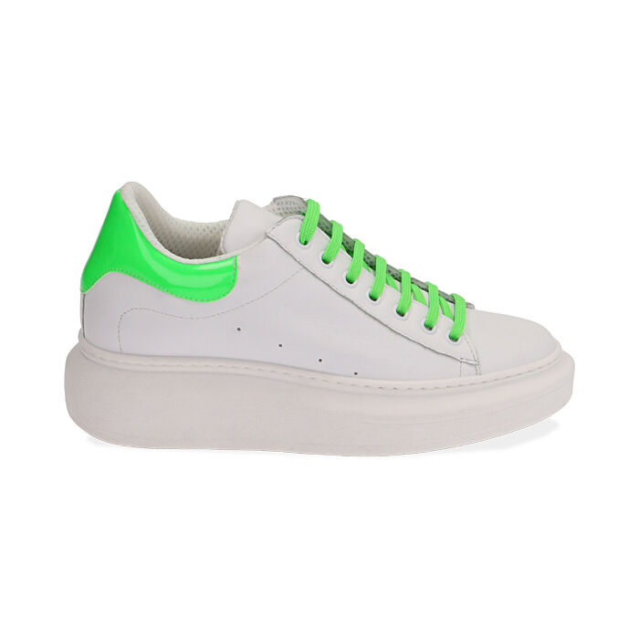 Sneakers bianco/verde in pelle, Primadonna, 17L600102PEBIVE035