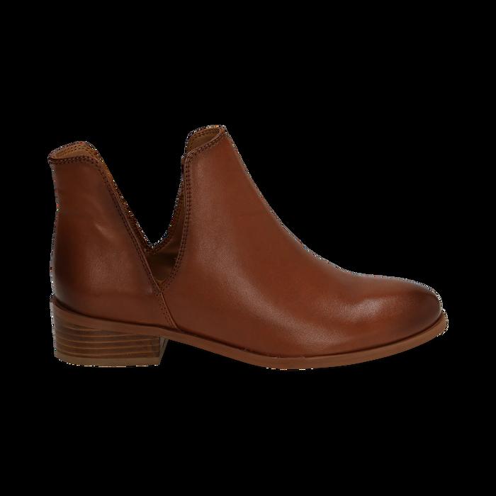Bottines en cuir camel, talon de 3 cm, Chaussures, 159407601PECUOI037