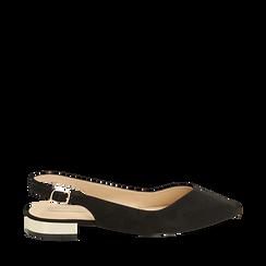 Slingback plate noir en microfibre, Chaussures, 154987411MFNERO035, 001a