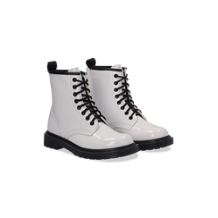 Anfibi bianchi vernice con lacci, tacco basso, Scarpe, 122801501VEBIAN036, 002