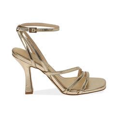 Sandali oro laminato, tacco 9,5 cm , Primadonna, 172183653LMOROG035, 001 preview