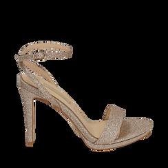 Sandalias en purpurina color dorado, tacón 10,50 cm , 152127401GLOROG035, 001a