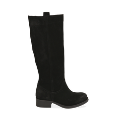 Stivali neri in camoscio, tacco 4 cm , Scarpe, 145600092CMNERO036, 001a