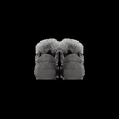 Sneakers grigie con pon pon in eco-fur, Scarpe, 121081755MFGRIG, 003 preview