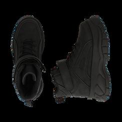 Sneakers platform nere in micro-nabuk, con strap, zeppa 5,50 cm , Scarpe, 14D814403MNNERO035, 003 preview