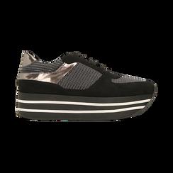Sneakers nere con maxi platform a righe bianche e nere, Scarpe, 122707075MFNERO, 001 preview