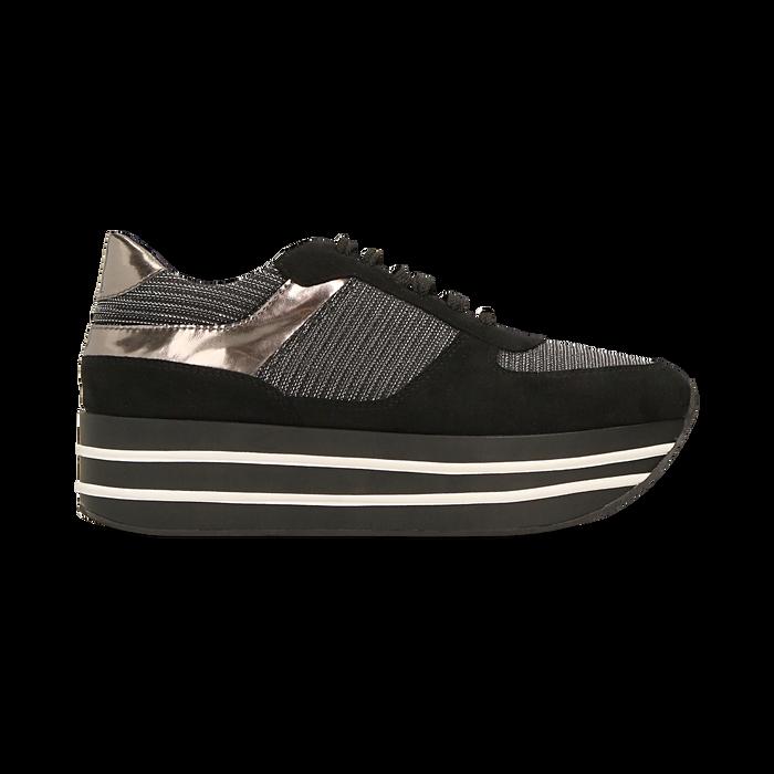 Sneakers nere con maxi platform a righe bianche e nere, Scarpe, 122707075MFNERO