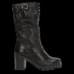 Stivali neri gambale drappegiato in vera pelle, tacco 5 cm, Primadonna, 127723814PENERO, 001 preview