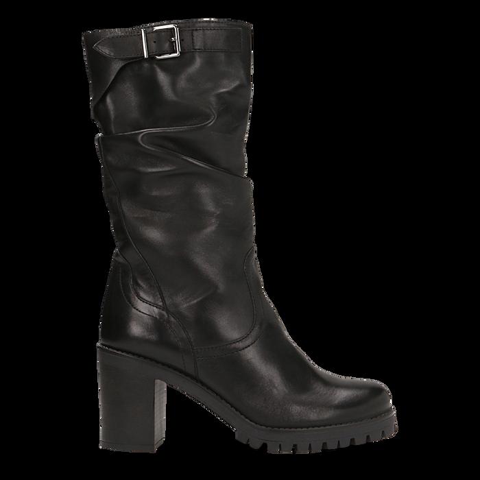 Stivali neri gambale drappegiato in vera pelle, tacco 5 cm, Primadonna, 127723814PENERO
