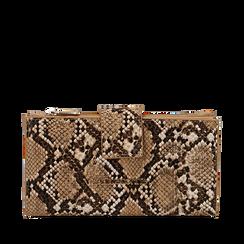 Portafogli beige in eco-pelle snake print, Primadonna, 155122158PTBEIGUNI, 001a