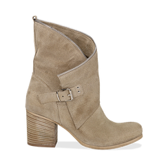 Ankle boots taupe in vero camoscio, tacco 9 , Scarpe, 135600421CMTAUP036, 001a
