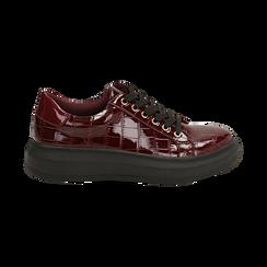 Sneakers bordeaux in vernice effetto coccodrillo, suola 4 cm , Scarpe, 142019051VEBORD036, 001 preview