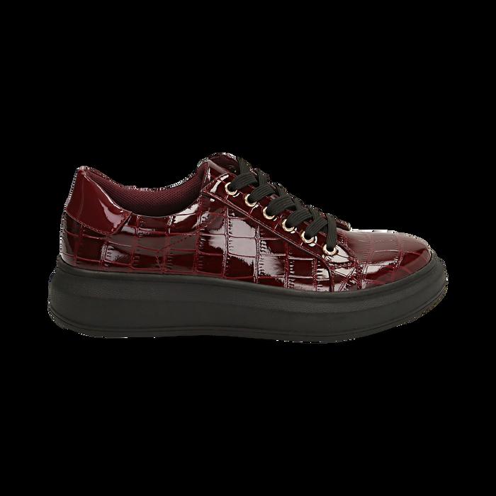 Sneakers bordeaux in vernice effetto coccodrillo, suola 4 cm , Scarpe, 142019051VEBORD036