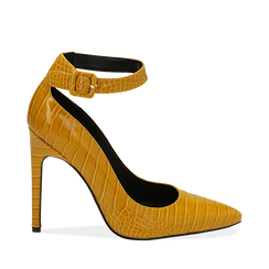 Décolleté gialle in eco-pelle effetto coccodrillo, tacco 11 cm , Scarpe, 142182061CCGIAL035, 001a