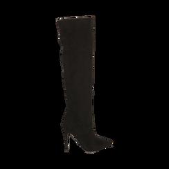 Overknee neri in microfibra, tacco 11,5 cm , Stivali, 142160055MFNERO035, 001a