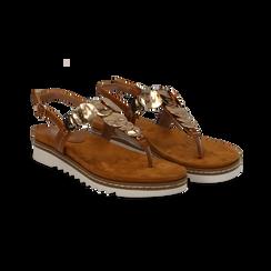 Sandali infradito cuoio in eco-pelle con suola bianca, Primadonna, 134922304EPCUOI, 002 preview