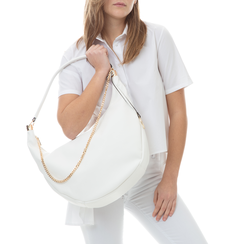 Hobo bag bianca in eco-pelle,