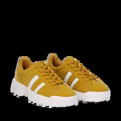 Dad shoes gialle in microfibra stile vintage Seventies, Scarpe, 130101211MFGIAL035, 002a
