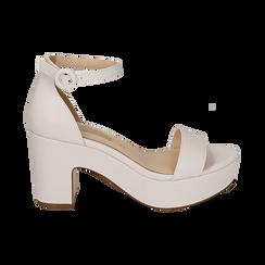 Sandali bianchi, tacco zeppa 8,50 cm, Primadonna, 158480214EPBIAN036, 001 preview