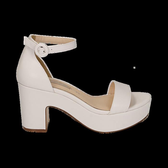 Sandali bianchi, tacco zeppa 8,50 cm, Primadonna, 158480214EPBIAN036