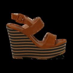 Sandali platform cuoio in eco-pelle, zeppa rigata 13 cm , Primadonna, 134986213EPCUOI035, 001 preview