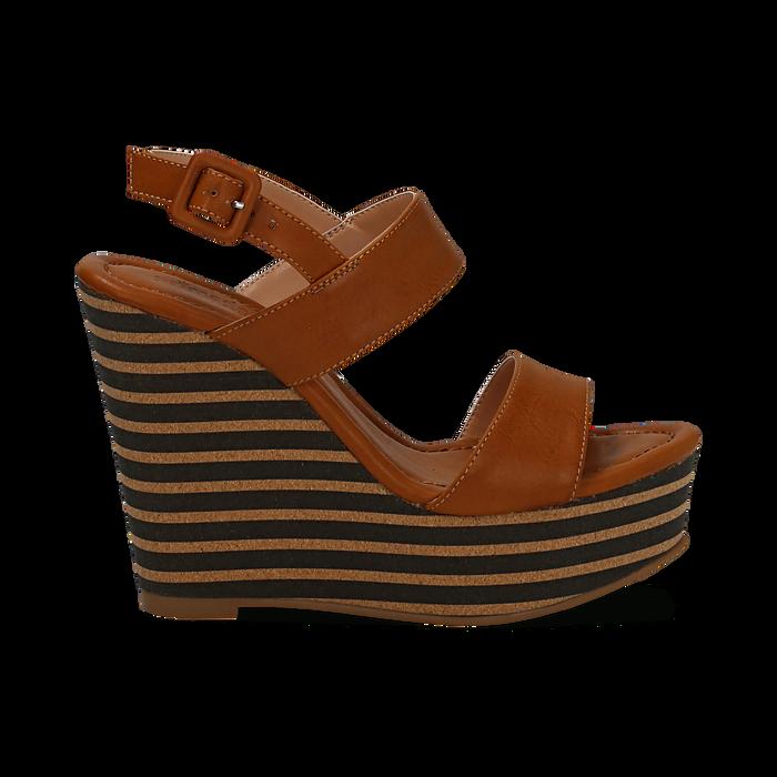 Sandali platform cuoio in eco-pelle, zeppa rigata 13 cm , Primadonna, 134986213EPCUOI035