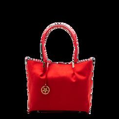 Maxi-bag a spalla rossa in microfibra scamosciata, Borse, 125702033MFROSSUNI, 001a preview