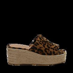 Zeppe platform leopard in eco-pelle, zeppa in corda 7 cm, Primadonna, 132708151MFLEOP035, 001a