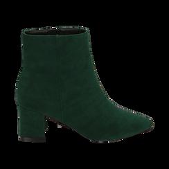 Ankle boots verdi microfibra, tacco 6 cm, Stivaletti, 144916811MFVERD035, 001 preview