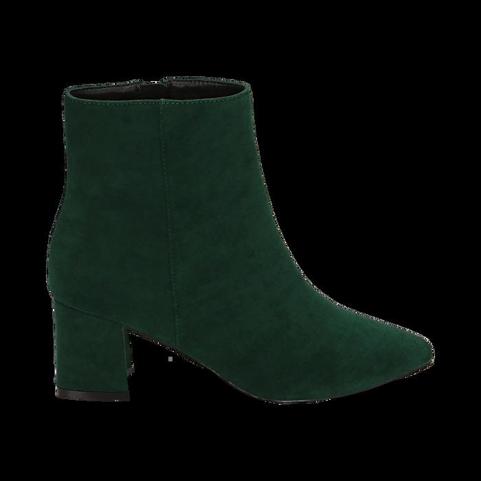 Ankle boots verdi microfibra, tacco 6 cm, Stivaletti, 144916811MFVERD035