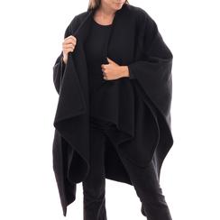 Poncho nero in tessuto , Abbigliamento, 14B400006TSNEROUNI, 001 preview